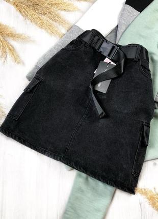 Черная джинсовая юбка с поясом