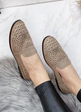 Туфли с перфорацией мокко кожаные