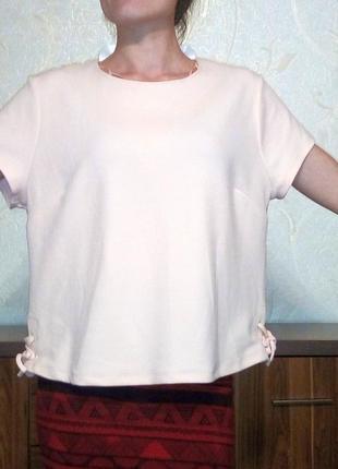 Изысканная фактурная блуза цвет пудра