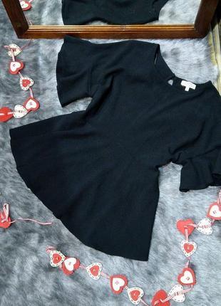 Блуза топ кофточка с баской и рукавами воланами papaya