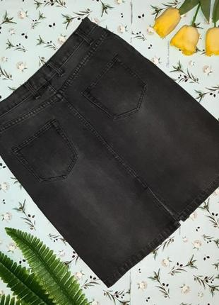 🎁1+1=3 крутая плотная черно-серая джинсовая юбка h&m с завышенной талией, размер 46 - 484 фото