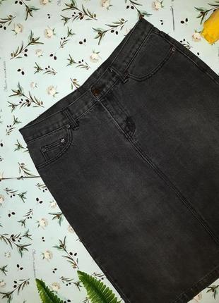 🎁1+1=3 крутая плотная черно-серая джинсовая юбка h&m с завышенной талией, размер 46 - 485 фото