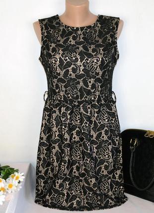 Брендовое черное кружевное нарядное короткое мини платье izabel london нейлон этикетка