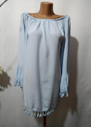 Хлопковая блузка туника с открытыми плечами и бахромой