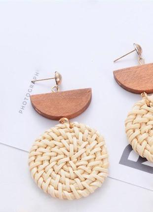 Стильные серьги дерево и плетенье плетенные серьги тренд