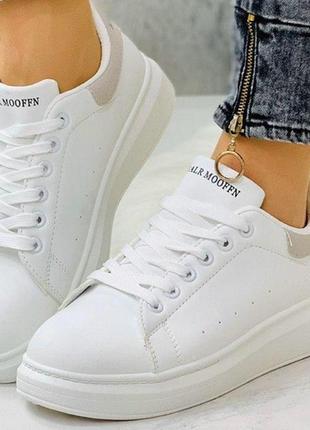 Женские кроссовки-кеды белые мокасины в стиле mq