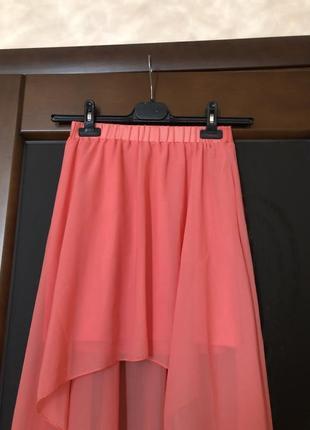 Красивая шифоновая коралловая юбка бренда new look. супер!