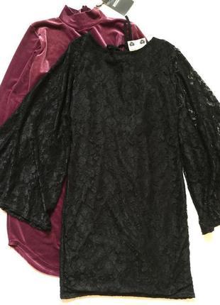 Платье вечернее кружевное с широкими рукавами boohoo размер 12/14