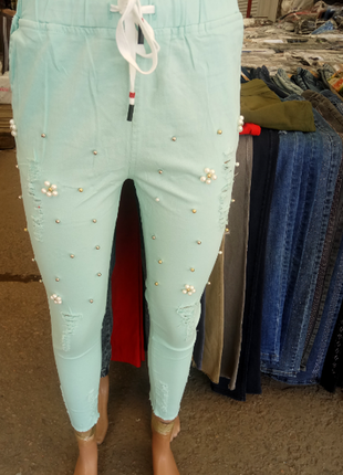 Повседневные укороченные брюки стрейч-коттон