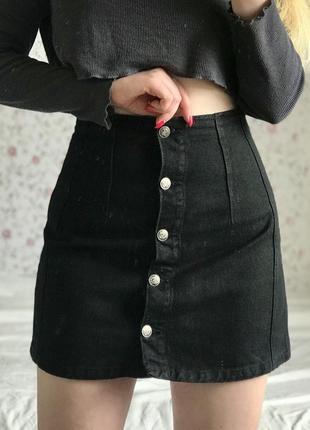 Джинсовая чёрная юбка на болтах тоp shop