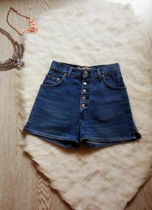 Синие джинсовые шорты с высокой посадкой высокая талия посадка короткие секси