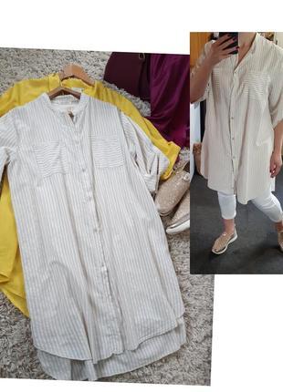 Актуальное хлопковое платье рубашка в полоску, италия,  р. 10-14