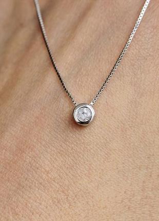 Серебряное колье капелька 40-45 см