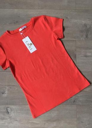 Новая качественная однотонная котоновая коралловая футболка