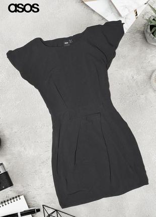 Черное платье с разрезами на рукавах asos