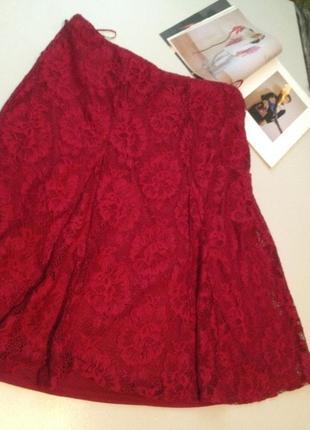 Брендовая красивая гипюровая юбка миди большого размера 18 сток