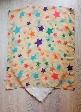 Бежевый широкий платок шарф шифон длинный квадратный парео цветной принт рисунок звездочки