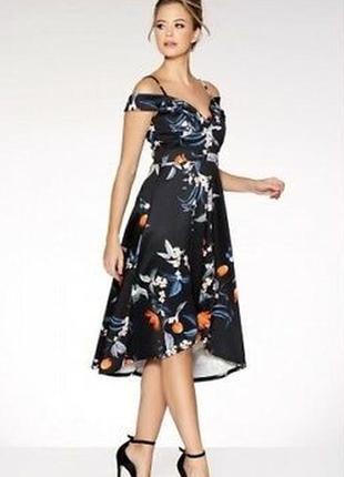 Платье с каскадным низом и открытыми плечами quiz размер 10