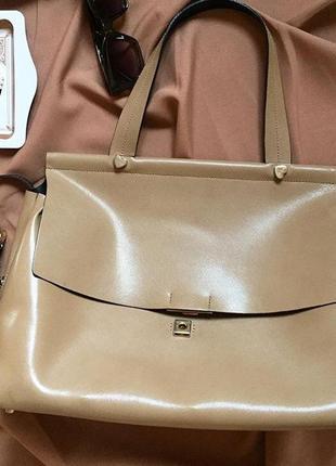 Кожаная сумка бежевый цвет twin set базовая сумка