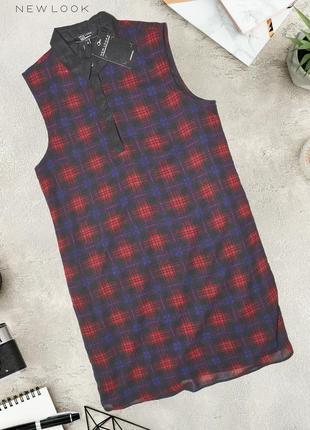 Удлиненная рубашка-платье в клетку new look