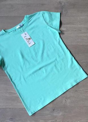 Новая качественная котоновая однотонная футболка мятного цвета