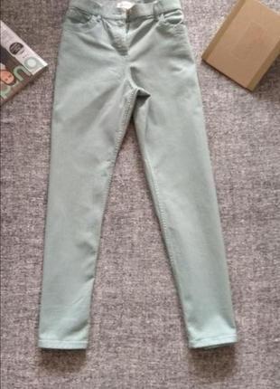 Красивые укороченные джинсы бойфренды мом высокая посадка цвета мяты размер l-12