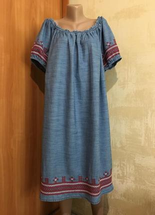 Джинсовое хлопковое платье с вышивкой tu, -хl-xxl