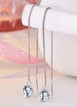 Серебряные серьги протяжки , серебро 925