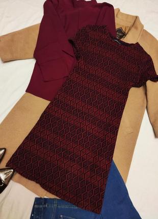 Marks spenser платье бордо красное чёрное в принт трикотажное