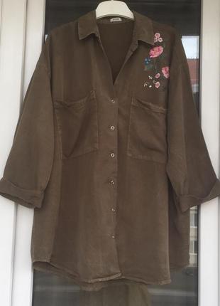 Pimkie стильная рубашка оверсайз с вышивкой м-л