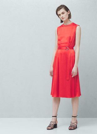 Mango красное платье миди