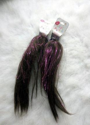 Заколки крабики для волос с искусственными коричневыми волосами канекалон с блестящими