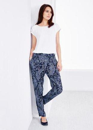 Узорчатые женские брюки на лето, 100% вискоза tchibo германия размер 38 евро=44-46