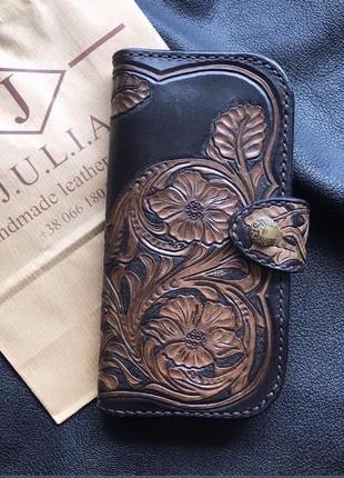 Шикарный кожаный кошелек клатч