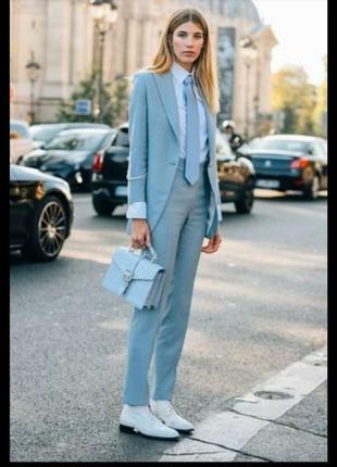 Шикарный брендовый легкий весенний блейзер, пиджак, жакет, оверсайз, серо голубой