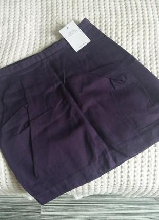 Баклажановая мини юбка дорогого бренда & other stories
