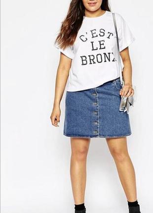 Красивая джинсовая юбка трапеция большого размера