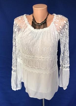 Италия.блузка белая футболка рубашка нарядная.оригинал идеал!!!