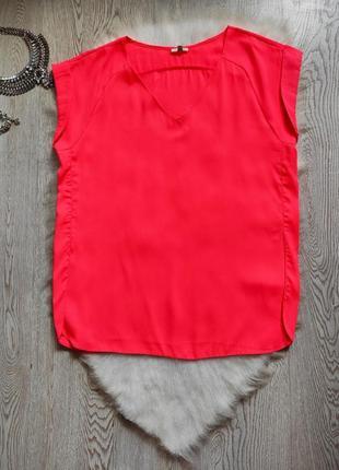 Розовая яркая длинная цветная блуза туника неон с вырезом декольте батал