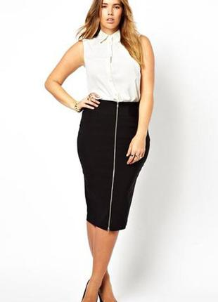 Черная длинная миди натуральная юбка карандаш по фигуре стрейч с молнией разрезом резинка