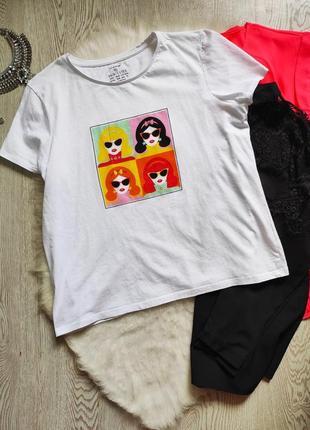 Белая футболка натуральная с цветным принтом рисунком лицами батал большой размер стрейч