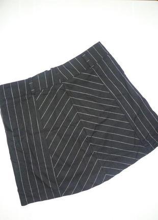 Юбка в полоску lumina, летняя мини юбка из вискозы, спідниця міні в смужку