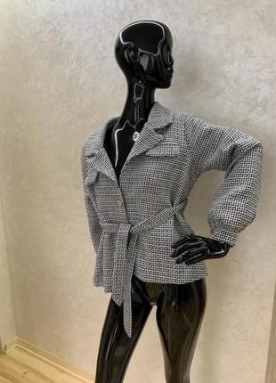 Пиджак кардиган жакет кофта с длинными рукавами колокольчик твид