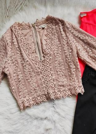 Бежевый розовый ажурный кроп топ короткая блуза с декольте вырезом гипюр вышивка нарядн