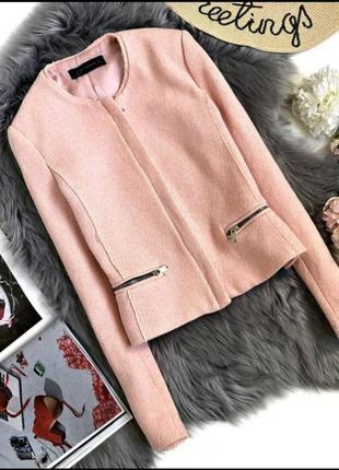 Zara стильный пиджак в стиле шанель, блейзер, жакет, ветровка, курточка, куртка