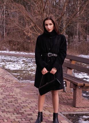 Madeleine брендовое шерстяное ангора длинное пальто на поясе классическое оверсайз черное