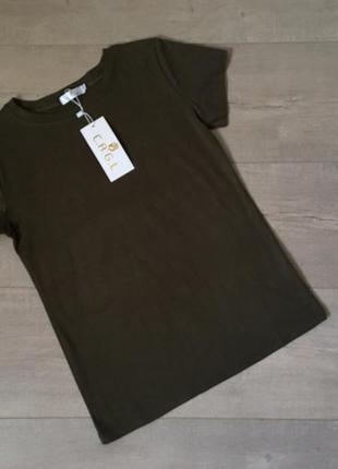 Новая качественная однотонная котоновая футболка цвета хаки