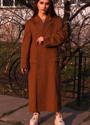 100% кашемировое брендовое длинное бежевое оверсайз шерстяное пальто оригинал
