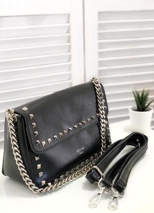 Чорна шкіряна сумочка, відмінна якість