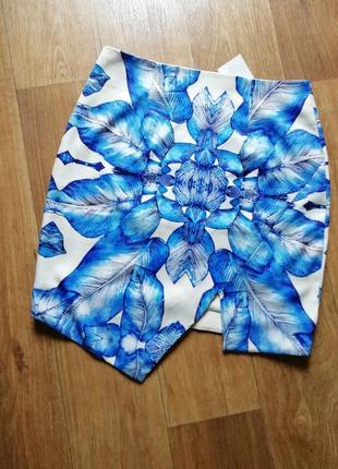 Стильная юбка с ассиметричным низом, спiдниця, мини